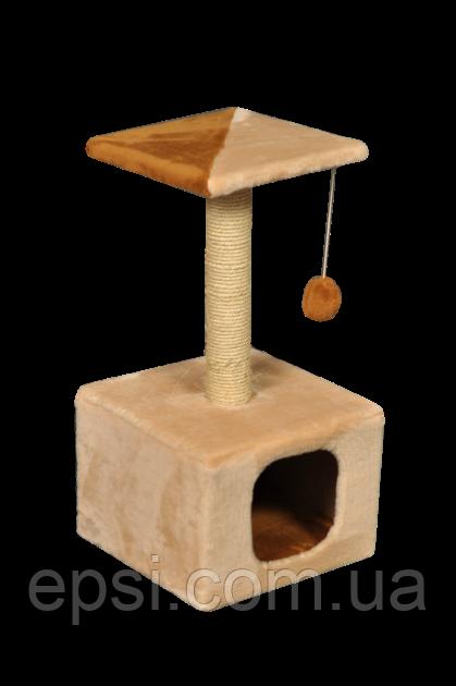 Когтеточка (дряпка) КотэДж домик 34х34см, высота-67 см, сизаль, бежево - коричневый