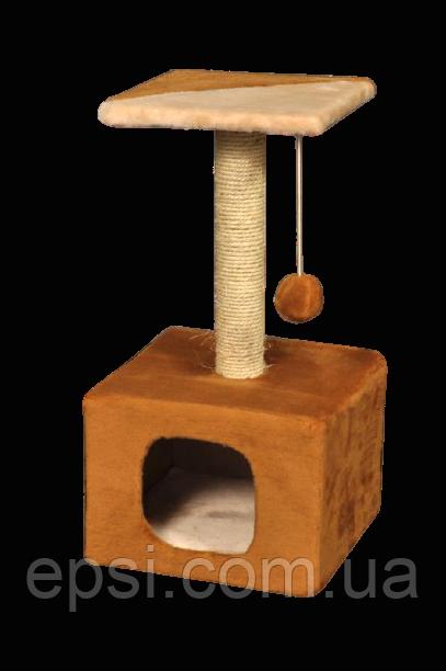 Когтеточка (дряпка) КотэДж домик 34х34см, высота-67 см, сизаль, коричнево-бежевая