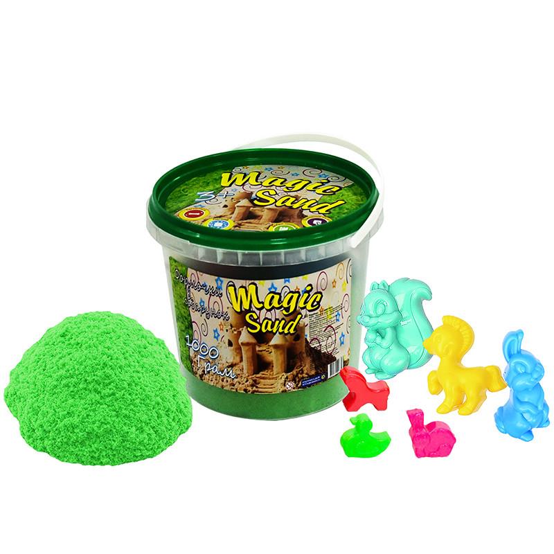 Magic sand зеленого цвета в ведре 1 кг 372-5
