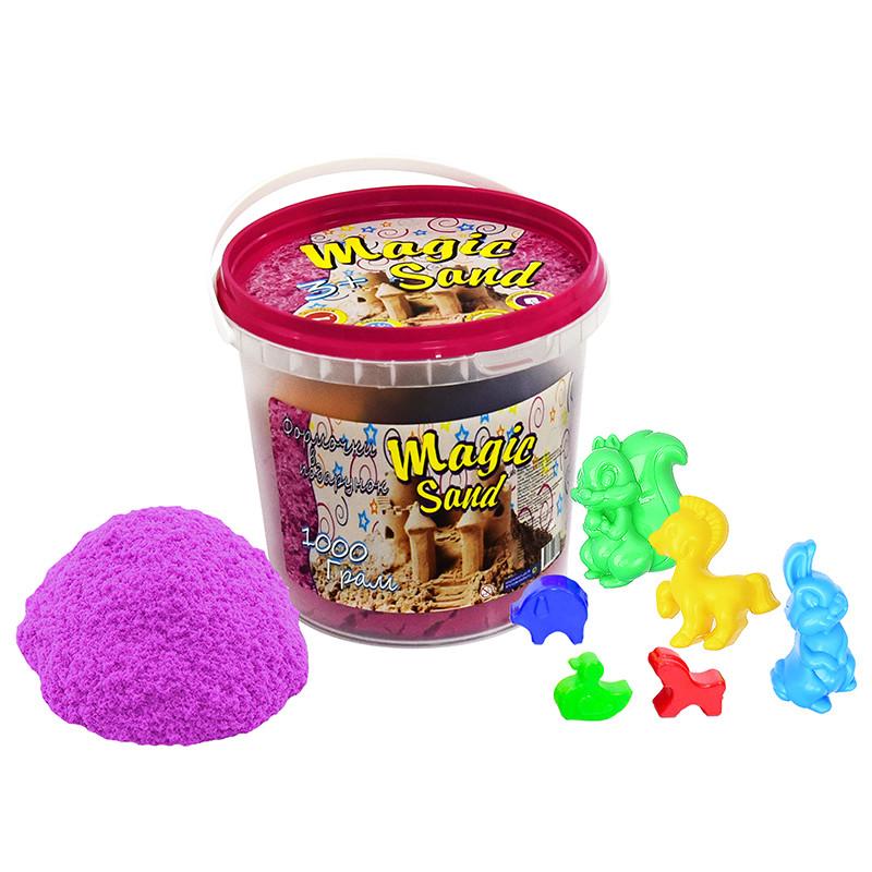 Magic sand розового цвета в ведре 1 кг 372-3