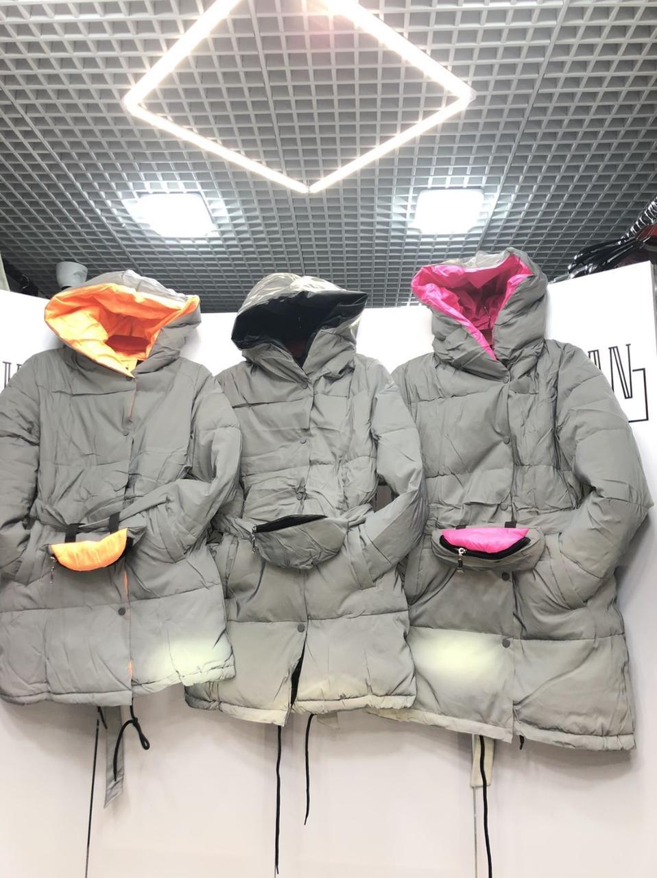 Куртка  зимняя светоотражающая из плащевки на холофайбере