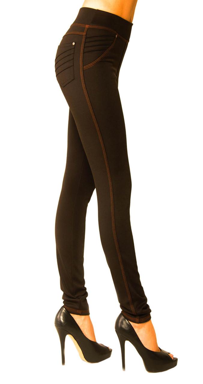 Стильные женские леггинсы-джинсы  с утяжкой из дайвинга с флисом чёрные с 42 по 64 размер