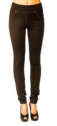 Стильные женские леггинсы-джинсы  с утяжкой из дайвинга с флисом чёрные с 42 по 64 размер, фото 2