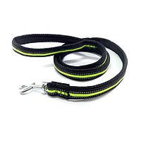 Поводок для больших собак нейлоновый светоотражающий чёрно-зелёный 3.3см/120см