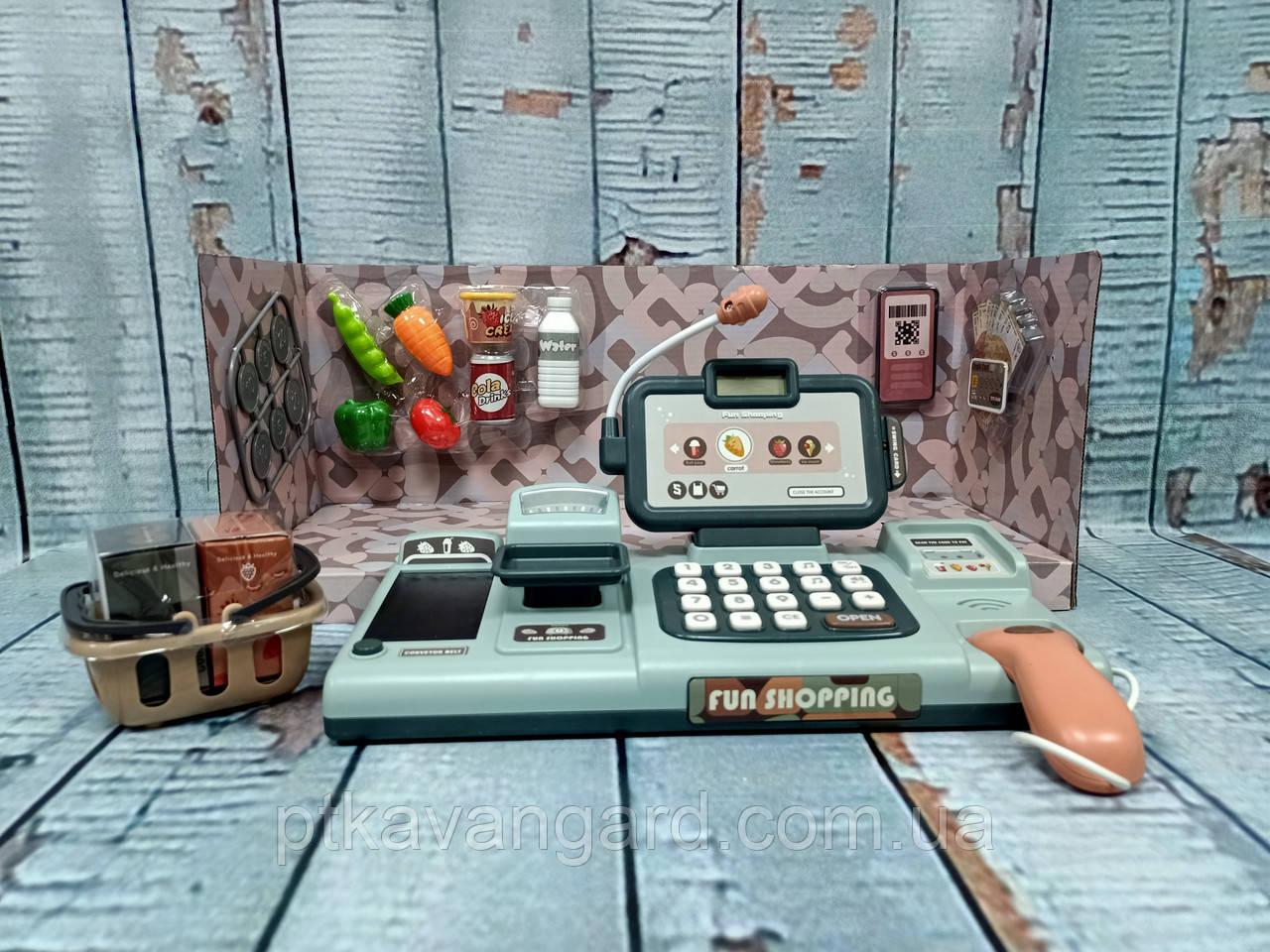 Детский кассовый аппарат игрушка 25 предметов, сканер, весы, кассовая лента, 25 мелодий, подсветка 888 H