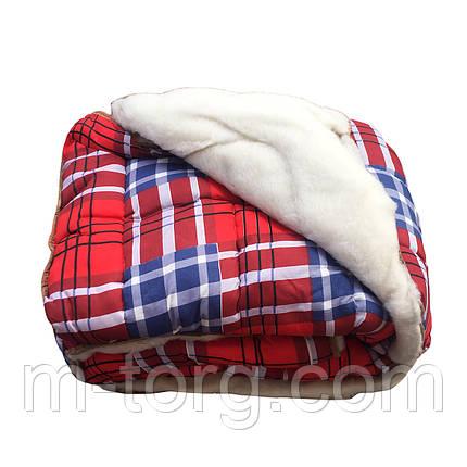 Недорогое меховое шерстяное одеяло овечья двуспальное 175/215,ткань поликотон, фото 2