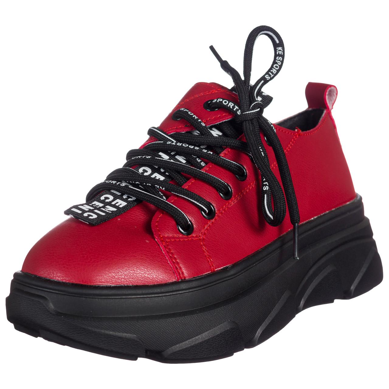 Кроссовки женские красные на шнурках и высокой подошве b-437