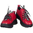 Кроссовки женские красные на шнурках и высокой подошве b-437, фото 8