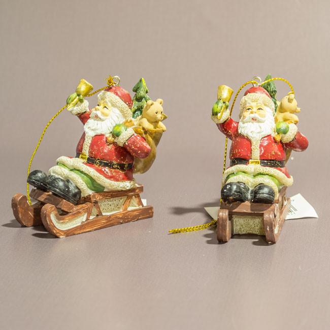 Елочная игрушка Дед мороз на санях