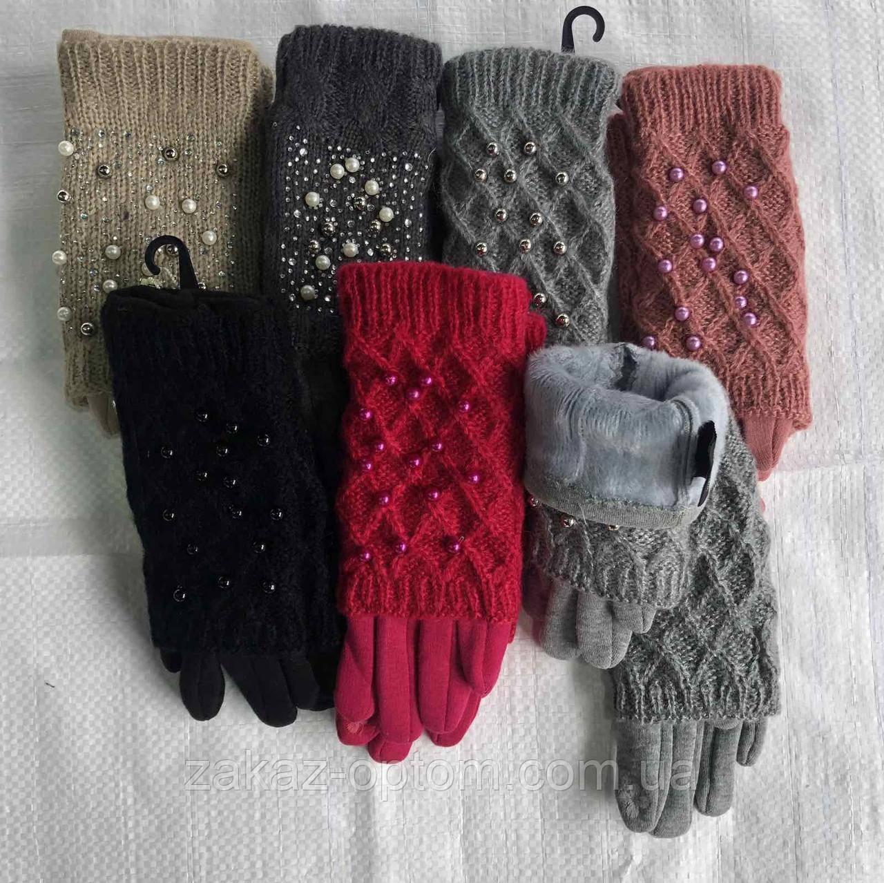 Перчатки подростковые 2в1 оптом двойные внутри мех(8-12лет)Китай-63117