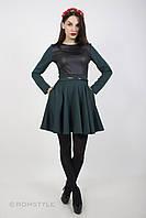 Сукня з трикотажу, декорована елементами з еко-шкіри ЗЕЛЕНЕ (Платье трикоражное с елементами эко-кожи ЗЕЛЕНОЕ, фото 1