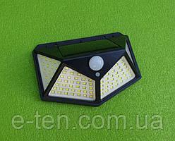Вуличний світлодіодний настінний ліхтар-світильник CL-100 / 100 LED на сонячній батареї (з датчиком руху)