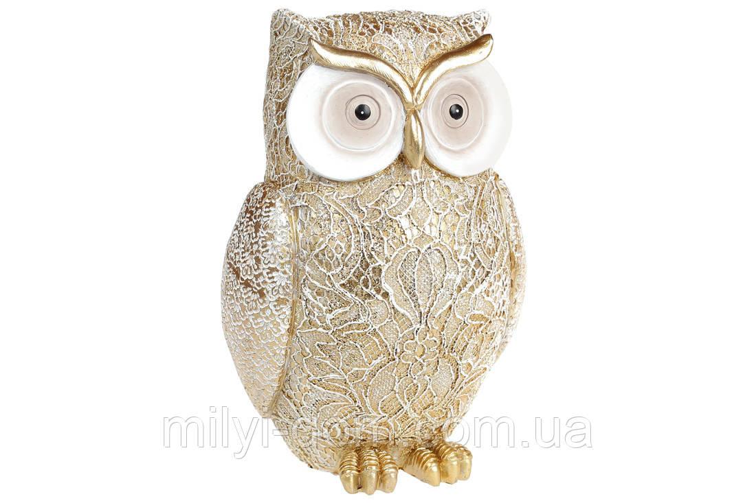 Декоративная фигурка Кружевная золотая сова, 17 см (набор 2 шт)