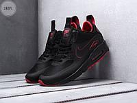 Мужские кроссовки Nike Air Max 90 Mid Ultra Termo Black/Red (черно-красные) 247PL