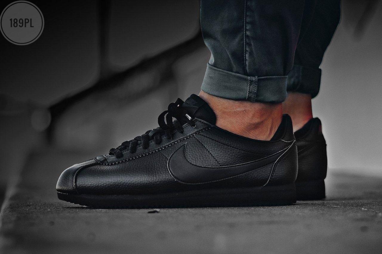 Мужские кроссовки Nike Cortez  black Classic (черные) 189PL