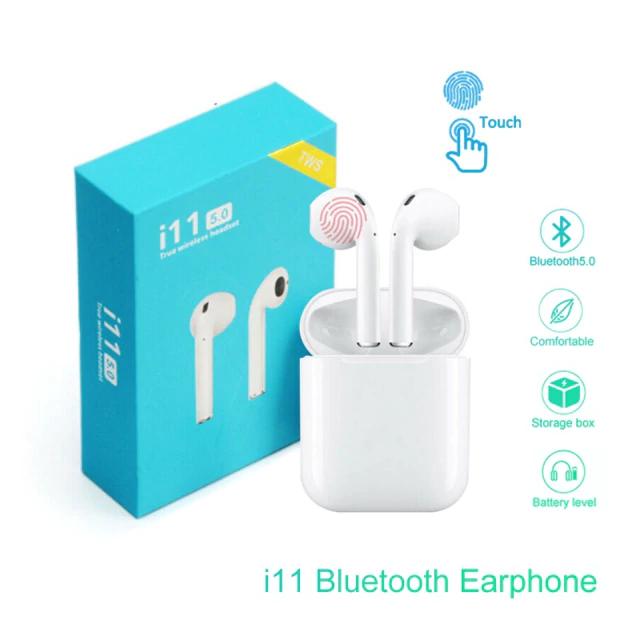 Беспроводные Bluetooth наушники в белом кейсе i11