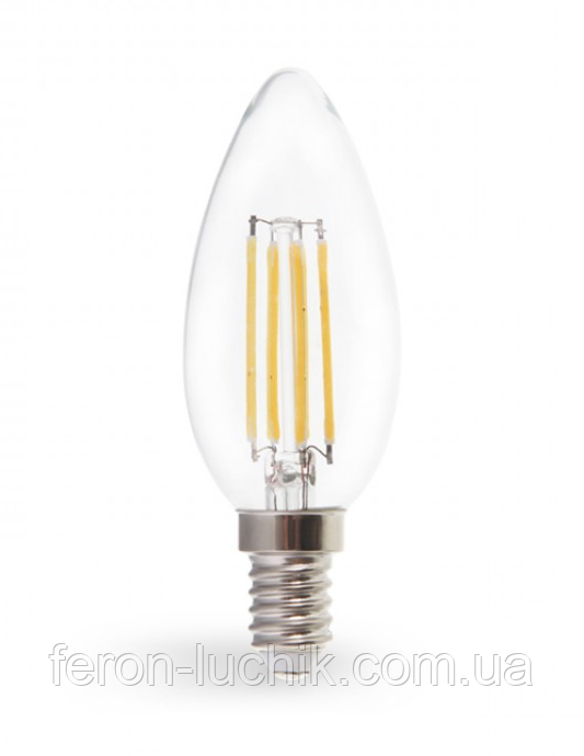 Светодиодная LED лампа Feron LB-160 7W Е14 C37 свеча Filament (2700K, 4000K)