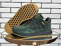 Мужские зимние кроссовки Adidas Iniki (темно-зеленые) 9941