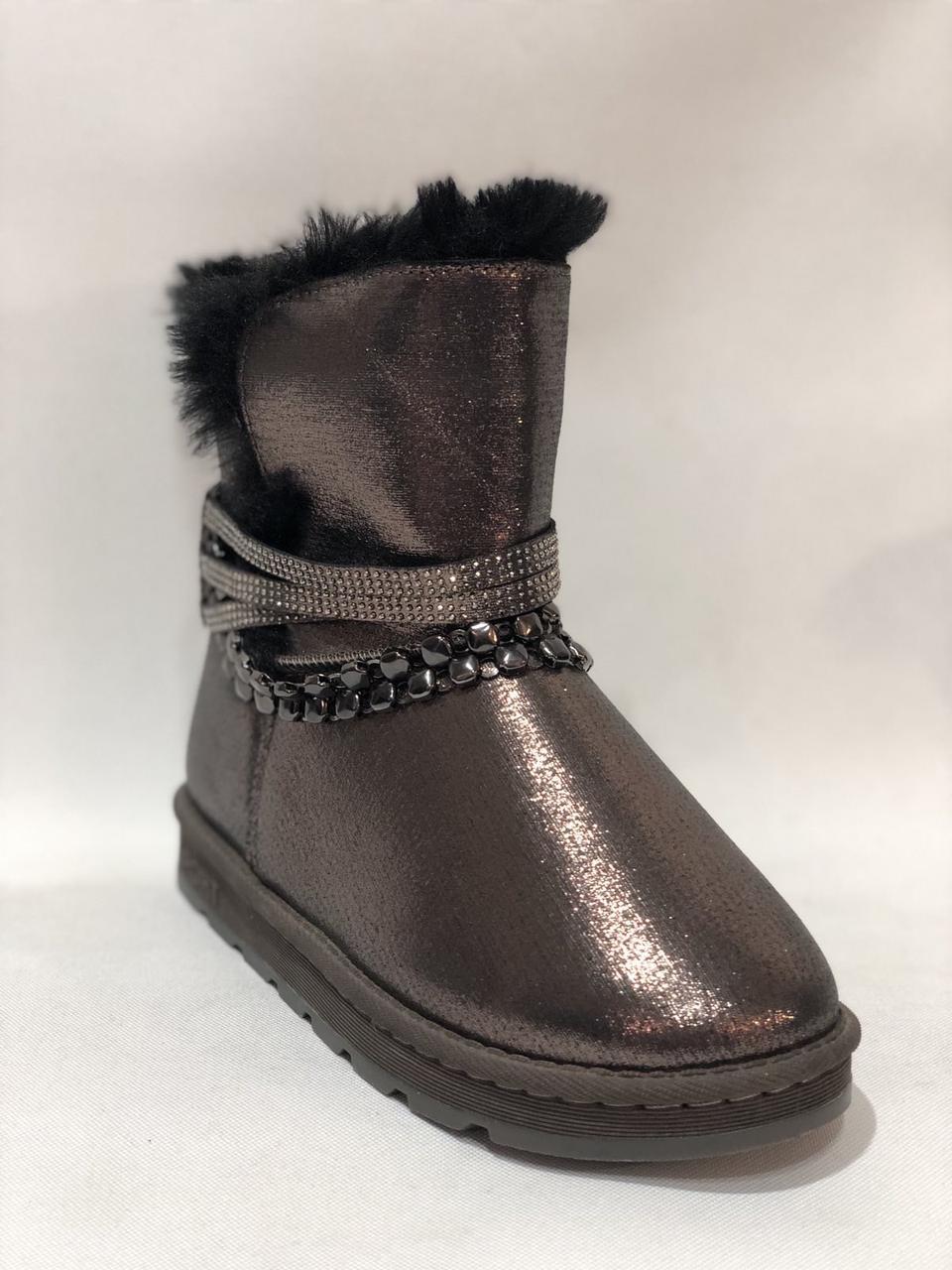 38 р. Жіночі чоботи на хутрі. Зимові теплі бронзові маломірки Остання пара