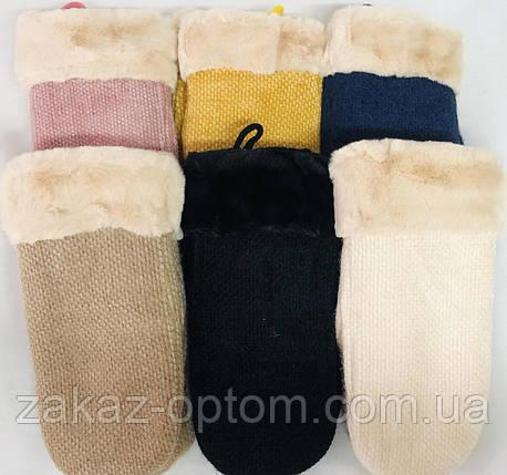 Варежки женские оптом внутри мех(6,5-8,5)Китай-63151, фото 2