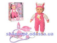 Кукла пупс Доктор мягконабивной сенсорный 40см, реагирует на стетоскоп, звук, свет