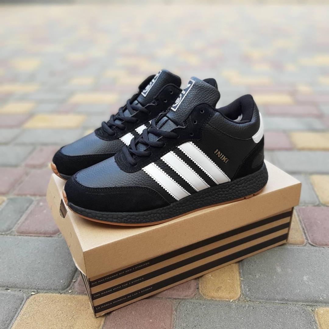 Мужские зимние ботинки Adidas INIKI (черно-белые) 3553