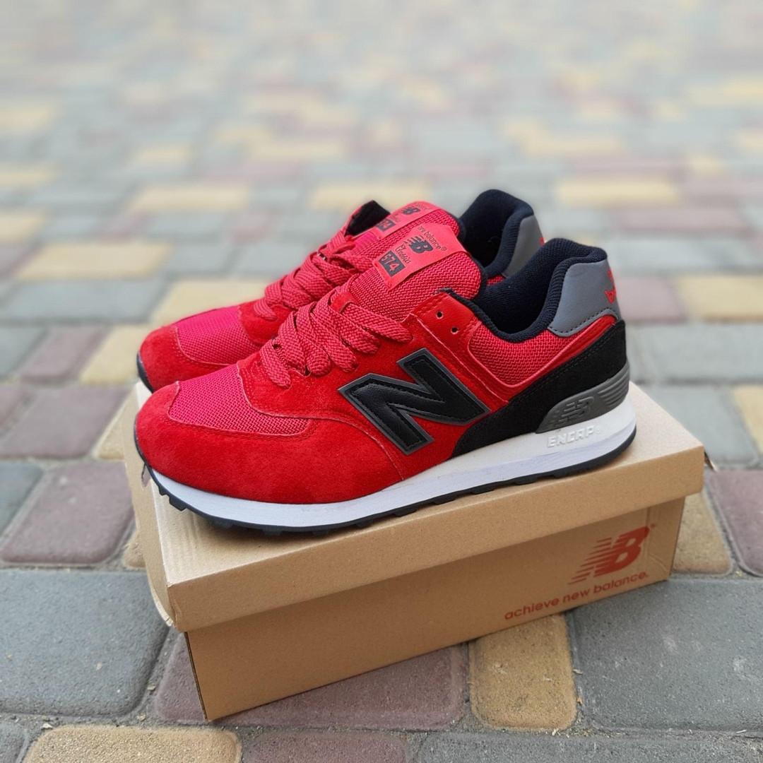 Мужские кроссовки New Balance 574 (красно-черные) 10286