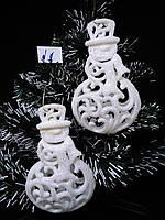 Украшения на елку игрушки 3D Снеговик ажурный 13*8 см 10 шт