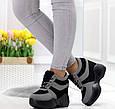 Сникерсы кроссовки на высокой платформе с танкеткой на шнурках серый и черный b-457, фото 2