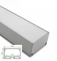 Алюминиевый профиль для светодиодной ленты 50х32мм c диффузором