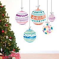 Виниловая новогодняя наклейка Елочные шары (шарики на ниточках новогодний декор стикеры на стены) матовая 700х730 мм