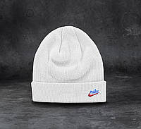 Шапка чоловіча зимова тепла якісна подвійна біла Найк Heritage Beanie, фото 1