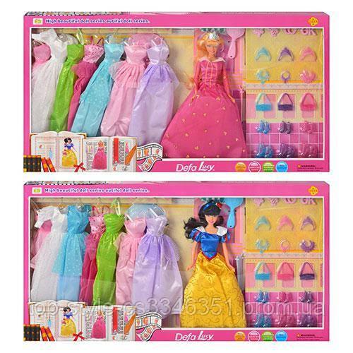 Кукла детская DEFA с нарядами, кукла в комплекте платья, кукла с платьями