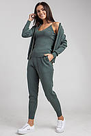 Стильный женский костюм-тройка (кофта, брюки, майка) в 5 микс цветах в универсальном размере