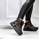 Модные черные бронзовые зимние женские кроссовки сникерсы, фото 3