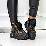Модные черные бронзовые зимние женские кроссовки сникерсы, фото 4