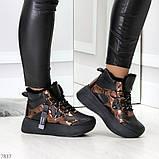 Модные черные бронзовые зимние женские кроссовки сникерсы, фото 5