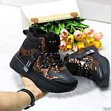 Модные черные бронзовые зимние женские кроссовки сникерсы, фото 6