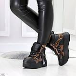 Модные черные бронзовые зимние женские кроссовки сникерсы, фото 8