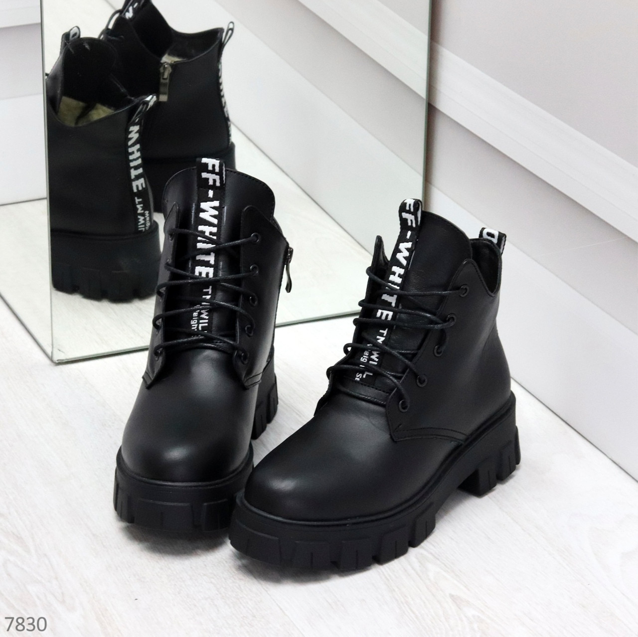 Трендовые черные женские зимние ботинки из натуральной кожи низкий ход
