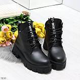 Трендовые черные женские зимние ботинки из натуральной кожи низкий ход, фото 3
