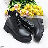 Трендовые черные женские зимние ботинки из натуральной кожи низкий ход, фото 4