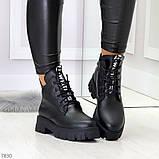 Трендовые черные женские зимние ботинки из натуральной кожи низкий ход, фото 5