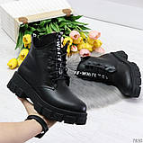 Трендовые черные женские зимние ботинки из натуральной кожи низкий ход, фото 6