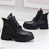 Трендовые черные женские зимние ботинки из натуральной кожи низкий ход, фото 7