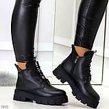 Трендовые черные женские зимние ботинки из натуральной кожи низкий ход, фото 8