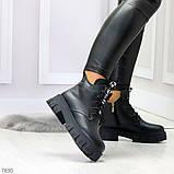 Трендовые черные женские зимние ботинки из натуральной кожи низкий ход, фото 9