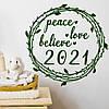Интерьерная наклейка Рождественский венок (декор стен наклейки на обои стены окна офисы) матовая 500x500 мм