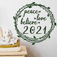 Интерьерная наклейка Рождественский венок (декор стен наклейки на обои стены окна офисы) матовая 500x500 мм, фото 1