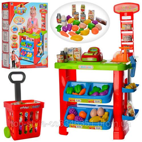 Детский игрушечный супермаркет-магазин с тележкой, кассовый аппарат
